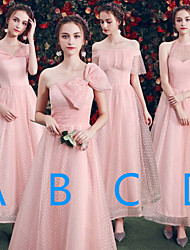 cheap -A-Line Halter Neck / Off Shoulder Ankle Length Tulle Bridesmaid Dress with Bow(s)