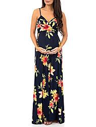 cheap -Women's Maxi Navy Blue Light Blue Dress Basic Swing Floral S M