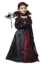 cheap -Vampire Dress Masquerade Kid's Girls' Cosplay Halloween Christmas Halloween Carnival Festival / Holiday Tulle Polyster Black Carnival Costumes Patchwork