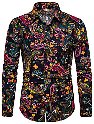 cheap -Men's Party Date Boho Linen Shirt - Geometric / Galaxy Print Black / Long Sleeve