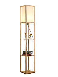 cheap -LED Shelf Floor Lamp Modern Simple Standing Light for Living Rooms Bedrooms Asian Wooden Frame with Open Box Display Shelves Natural Wood Color