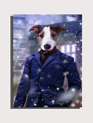 cheap -E-HOME Stretched Canvas Art Cute Animal Series - Dogs in Suits Decoration Painting  One Pcs
