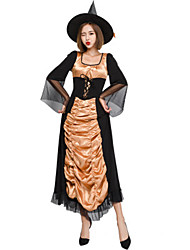 cheap -Witch Dress Cosplay Costume Masquerade Adults' Women's Dresses Halloween Christmas Halloween Carnival Festival / Holiday Tulle Satin Black Carnival Costumes Patchwork Holiday Halloween
