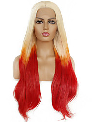 cheap -Synthetic Lace Front Wig Body Wave Kardashian Middle Part Lace Front Wig Ombre Long Red Synthetic Hair 22-26 inch Women's Heat Resistant Women Color Gradient Ombre / Glueless