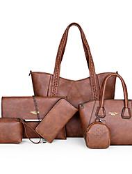 cheap -Women's Rivet PU Bag Set Solid Color 6 Pieces Purse Set Black / Brown / Dark Brown