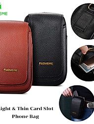cheap -Floveme High Quality Genuine Leather Case For Universal 5.5inch Use Phone Bag Case with Stand / Card Holder Wallet / Solid Colored  Waist Bag