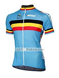 cheap -21Grams Belgium National Flag Men's Short Sleeve Cycling Jersey - Blue Bike Top UV Resistant Breathable Moisture Wicking Sports Terylene Mountain Bike MTB Road Bike Cycling Clothing Apparel