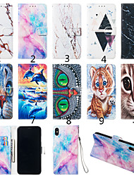 Недорогие -Кейс для Назначение Motorola Мото G7 / Мото G7 Plus / Moto G7 Play Кошелек / Бумажник для карт / со стендом Чехол Кот / Животное / Мрамор Твердый Кожа PU