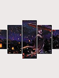 cheap -Print Rolled Canvas Prints - Abstract Cartoon Classic Modern Five Panels Art Prints