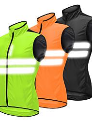 cheap -WOSAWE Men's Sleeveless Cycling Vest Black Orange Green Bike Vest / Gilet Windbreaker Jersey Mountain Bike MTB Road Bike Cycling Windproof Breathable Reflective Strips Sports Polyster Clothing Apparel