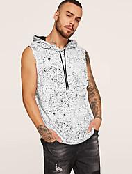 cheap -Men's Polka Dot Tank Top - Cotton Linen Street chic Daily Hooded White / Black / Sleeveless