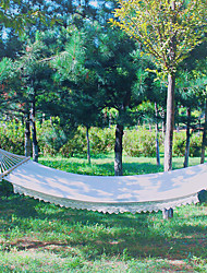 cheap -Camping Hammock Outdoor Fast Dry Decoration Adjustable Flexible Hemp Rope Pure Cotton with Carabiners and Tree Straps for 1 person White 200*80 cm