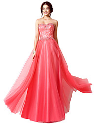 cheap -A-Line Sweetheart Neckline Floor Length Lace / Tulle Elegant Formal Evening Dress with Sequin / Lace Insert 2020