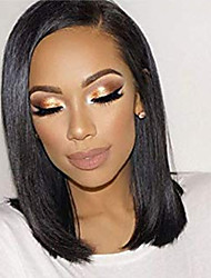 cheap -Human Hair Lace Front Wig Free Part style Malaysian Hair Straight Black Wig 130% Density Women Women's Short Others Clytie