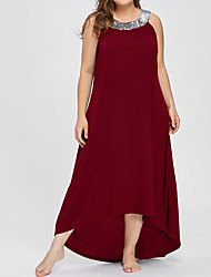 cheap -Women's Maxi Plus Size Purple Red Dress Going out A Line Solid Colored XL XXL Loose