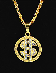 cheap -Men's Women's Gold Crystal Pendant Necklace Statement Necklace Chains Cuban Link Dollars Statement Punk Trendy Rock Zircon Chrome 24K Gold Plated Gold 70 cm Necklace Jewelry 1pc For Carnival Street