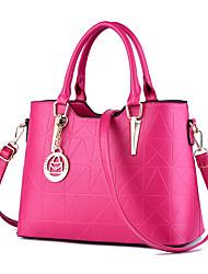 cheap -Women's PU Leather Tote Leather Bags Geometric Pattern Wine / White / Black / Fall & Winter