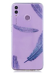cheap -Case For Huawei Honor 8X / Huawei P Smart (2019) Pattern / Transparent Back Cover Blue Feather Soft TPU for Mate20 Lite / Mate10 Lite / Y6 (2018) / P20 Lite / Nova 3i / P Smart / P20 Pro