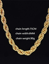 cheap -Men's Women's Gold Chain Necklace Statement Necklace Chains Cuban Link Totem Series Statement Punk Trendy Rock Zircon Chrome 24K Gold Plated Gold 70 cm Necklace Jewelry 1pc For Carnival Street Club