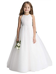 cheap -Princess Long Length Christmas / Birthday / First Communion Flower Girl Dresses - Chiffon / Organza / Tulle Sleeveless Jewel Neck with Draping