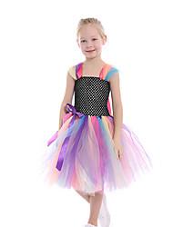 cheap -Kids Toddler Girls' Active Cute Black Patchwork Mesh Patchwork Sleeveless Knee-length Dress Black