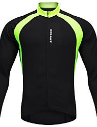 abordables -WOSAWE Homme Femme Manches Longues Maillot Velo Cyclisme Hiver Toison Polyester Noir Mosaïque Cyclisme Maillot Hauts / Top VTT Vélo tout terrain Vélo Route Des sports Vêtement Tenue / Elastique