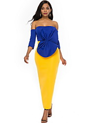 cheap -Women's Maxi Yellow Dress Sheath Color Block Strapless Bow S M Slim