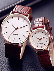 cheap -Couple's Dress Watch Quartz Leather Black / Brown 30 m Water Resistant / Waterproof Casual Watch Cool Analog Casual Fashion - Black Brown One Year Battery Life