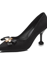 cheap -Women's Mary Jane Satin Fall / Spring & Summer Classic / Minimalism Heels Kitten Heel Pointed Toe Bowknot / Imitation Pearl Black / Yellow