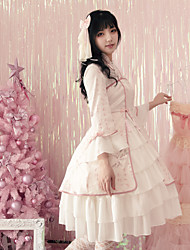 cheap -Classical Traditional Cute Dress Cosplay Costume Halloween Props Party Costume All Japanese Cosplay Costumes Light Pink Print Vintage Flare Sleeve 3/4 Length Sleeve Knee Length Medium Length