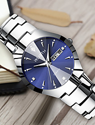 cheap -WLISTH Men's Women's Steel Band Watches Quartz Classic Style Stainless Steel Black / White / Sky Blue 30 m Water Resistant / Waterproof Calendar / date / day Noctilucent Analog Casual Butterfly -