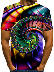 cheap -Men's Color Block 3D Print T-shirt Street chic Exaggerated Daily Wear Club Round Neck Rainbow / Short Sleeve