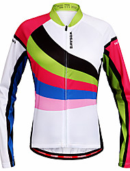 cheap -WOSAWE Women's Long Sleeve Cycling Jersey Winter Polyester Rainbow Patchwork Bike Jersey Top Mountain Bike MTB Road Bike Cycling Quick Dry Sports Clothing Apparel / Stretchy / Advanced / Advanced