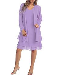 cheap -Women's Plus Size Casual Two Piece Dress - Solid Colored Summer Purple XXXL XXXXL XXXXXL