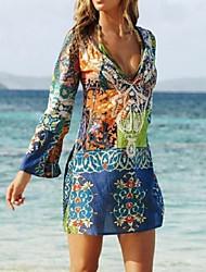 cheap -Women's Boho / Beach Mini Blue Dress Boho Summer Holiday Beach Sheath Graphic Deep V Print S M