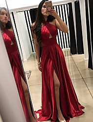 cheap -A-Line Halter Neck Sweep / Brush Train Charmeuse Sexy / Furcal Formal Evening Dress 2020 with