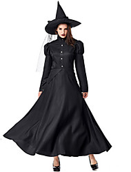 cheap -Witch Uniforms Dress Cosplay Costume Adults' Women's Dresses Halloween Christmas Halloween Carnival Festival / Holiday Spandex Lycra Polyster Black Carnival Costumes Solid Colored Holiday Halloween