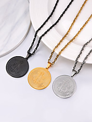 cheap -Men's Women's Pendant Necklace Necklace Charm Necklace Coin Simple Fashion 18K Gold Plated Titanium Steel Gold Black Silver 55 cm Necklace Jewelry 1pc For Graduation Gift Daily School
