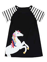 cheap -Kids Girls' Animal Short Sleeve Above Knee Dress Black