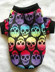 cheap -Dogs Sweatshirt Dog Clothes Black Rainbow Costume Poly / Cotton Blend Skull Halloween XS S M L XL XXL