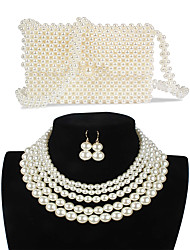 cheap -Women's Drop Earrings Earrings Pearl Necklace Beaded Stylish Simple Luxury Classic Vintage Imitation Pearl Earrings Jewelry White For Wedding Party Engagement Gift Street Three-piece Suit