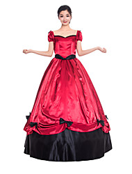 cheap -Princess Maria Antonietta Floral Style Rococo Victorian Renaissance Dress Party Costume Masquerade Women's Lace Costume Red Vintage Cosplay Christmas Halloween Party / Evening Short Sleeve Floor