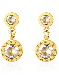 cheap -Women's White Cubic Zirconia Drop Earrings Number Stylish Classic Vintage Basic Fashion Earrings Jewelry Golden For Gift Daily Club Bar Festival 1 Pair