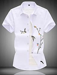 cheap -Men's Plus Size Animal Shirt Chinoiserie Casual Daily Wear Classic Collar White / Black / Short Sleeve