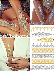 cheap -Waterproof Temporary Tattoos Boho Metallic Henna Tattoos - in Gold and Silver