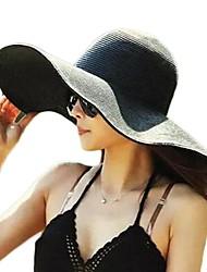 Недорогие -Жен. Классический Соломенная шляпа Шляпа от солнца Солома,Однотонный Лето Осень Желтый Пурпурный Светло-синий