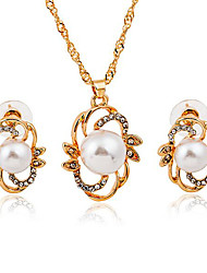 cheap -Women's Pearl Stud Earrings Pendant Necklace 3D Flower Stylish Classic Elegant Imitation Pearl Rhinestone Gold Plated Earrings Jewelry Gold / Silver For Daily Work 1 set