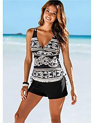 cheap -Women's Basic Black Triangle High Waist Tankini Swimwear - Striped S M L Black