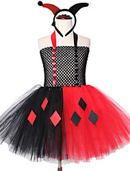 cheap -Harley Quinn Girls Tutu Dress Black and Red Kids Birthday Party Dresses Carnival Halloween Headband