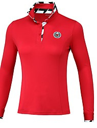 cheap -Women's Polos Shirt Long Sleeve Golf Workout Athleisure Outdoor Autumn / Fall Spring Summer / Cotton / Stretchy / Quick Dry / Breathable / Solid Color